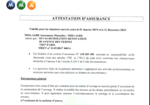 attestation d'assurance construction